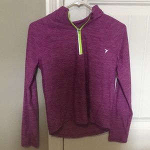 Purple pullover with neon yellow zipper